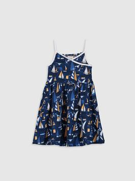 NAVY - Girl's Figured Cotton Dress Family Matching