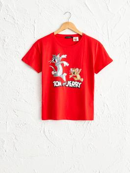 RED - Tom and Jerry Printed Cotton T-Shirt