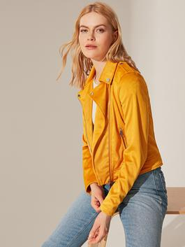 YELLOW - Faux Leather short Coat