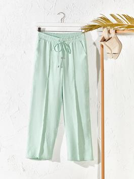 GREEN - Elastic Waist Loose Leg Trousers