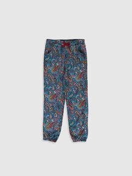 BLUE - Girl's Figured Viscose Trousers