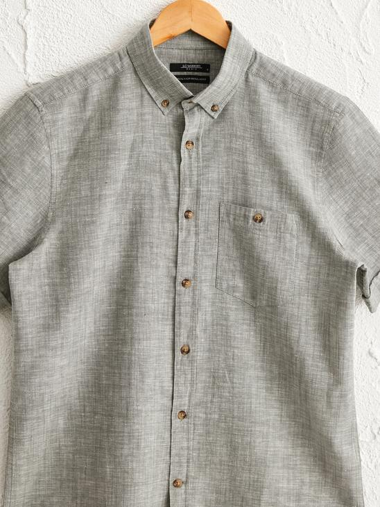 GREEN - Regular Fit Short Sleeve Linen Shirt - 0S5723Z8