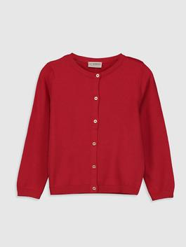 RED - Girl's Lightweight Tricot Cardigan