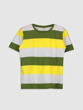 GREEN - Boy's Striped Cotton T-Shirt