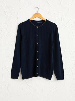 NAVY - Self-Patterned Lightweight Tricot Cardigan