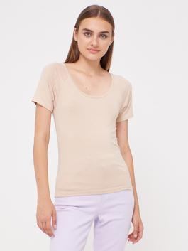 BEIGE - U-Neck Plain Cotton T-Shirt