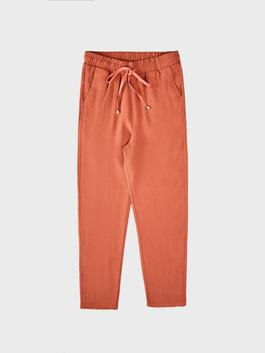 BROWN - Ankle Length Elastic Waist Carrot Fit Trousers