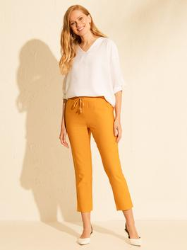 YELLOW - Ankle Length Elastic Waist Carrot Fit Trousers