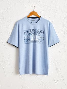 BLUE - Crew Neck Printed Combed Cotton T-Shirt