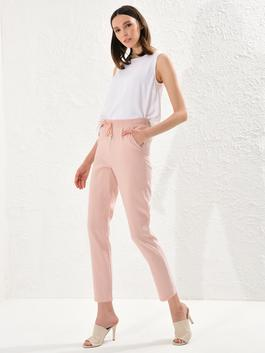 PINK - Ankle Length Elastic Waist Carrot Fit Trousers