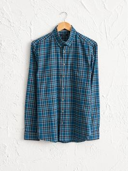 PETROL - Regular Fit Chequered Long-Sleeve Poplin Shirt