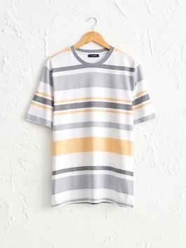 YELLOW - Crew Neck Striped Combed Cotton T-Shirt