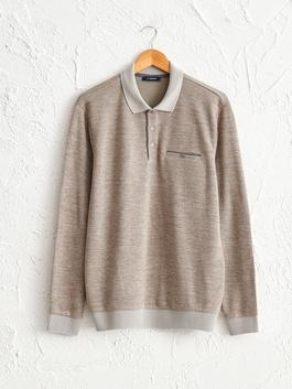 BEIGE - Polo Neck Long Sleeve Sweatshirt