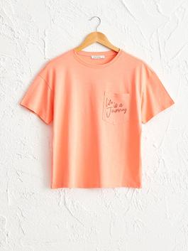 CORAL - Printed Pocket Detailed Cotton T-Shirt
