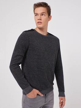 BLACK - Crew Neck Basic Sweatshirt