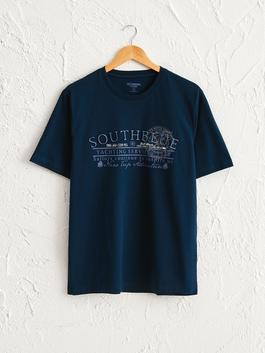 NAVY - Crew Neck Printed Combed Cotton T-Shirt