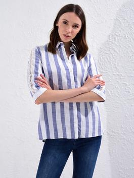 NAVY - Striped Shirt with Sleeves