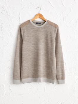 BEIGE - Crew Neck Basic Sweatshirt