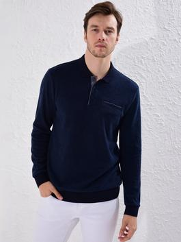 NAVY - Polo Neck Long Sleeve Sweatshirt