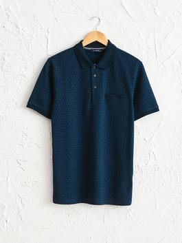 NAVY - Polo Neck and Short Sleeve Cotton T-Shirt