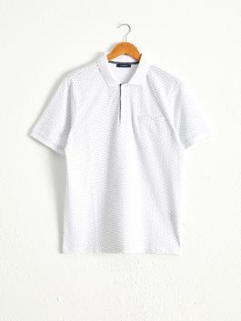 WHITE - Polo Neck and Short Sleeve Cotton T-Shirt