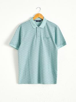 GREEN - Polo Neck and Short Sleeve Cotton T-Shirt