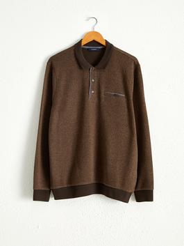 BROWN - Polo Neck Long Sleeve Sweatshirt