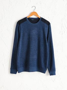 BLUE - Crew Neck Basic Sweatshirt