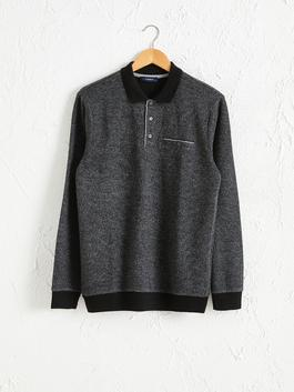 BLACK - Polo Neck Long Sleeve Sweatshirt