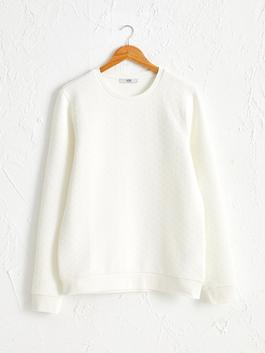 WHITE - Printed Crew Neck and Long Sleeve T-Shirt