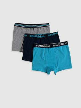 TURQUOISE - 3-pack Boy's Cotton Boxers