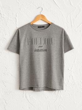 GREY - Bright Letter Printed T-Shirt