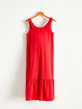 RED - Ruffle Detailed Cotton Maternity Dress