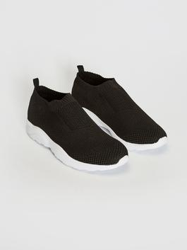 BLACK - Men's Tricot Slip On Casual Shoes