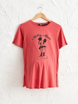 RED - Mickey Mouse Printed Cotton Maternity T-Shirt