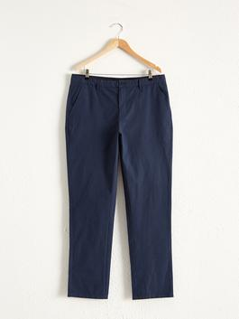 NAVY - Standard Fit Textured Trousers