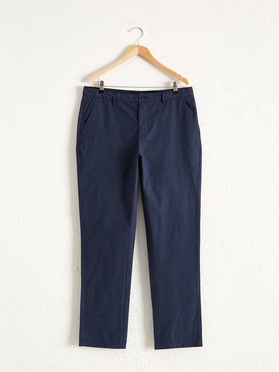 NAVY - Standard Fit Textured Trousers - 0S7496Z8