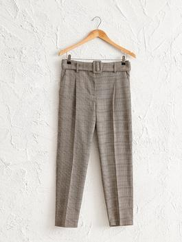 BROWN - Belted Chequered Trousers