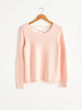 PINK - Square Neck Tricot Jumper