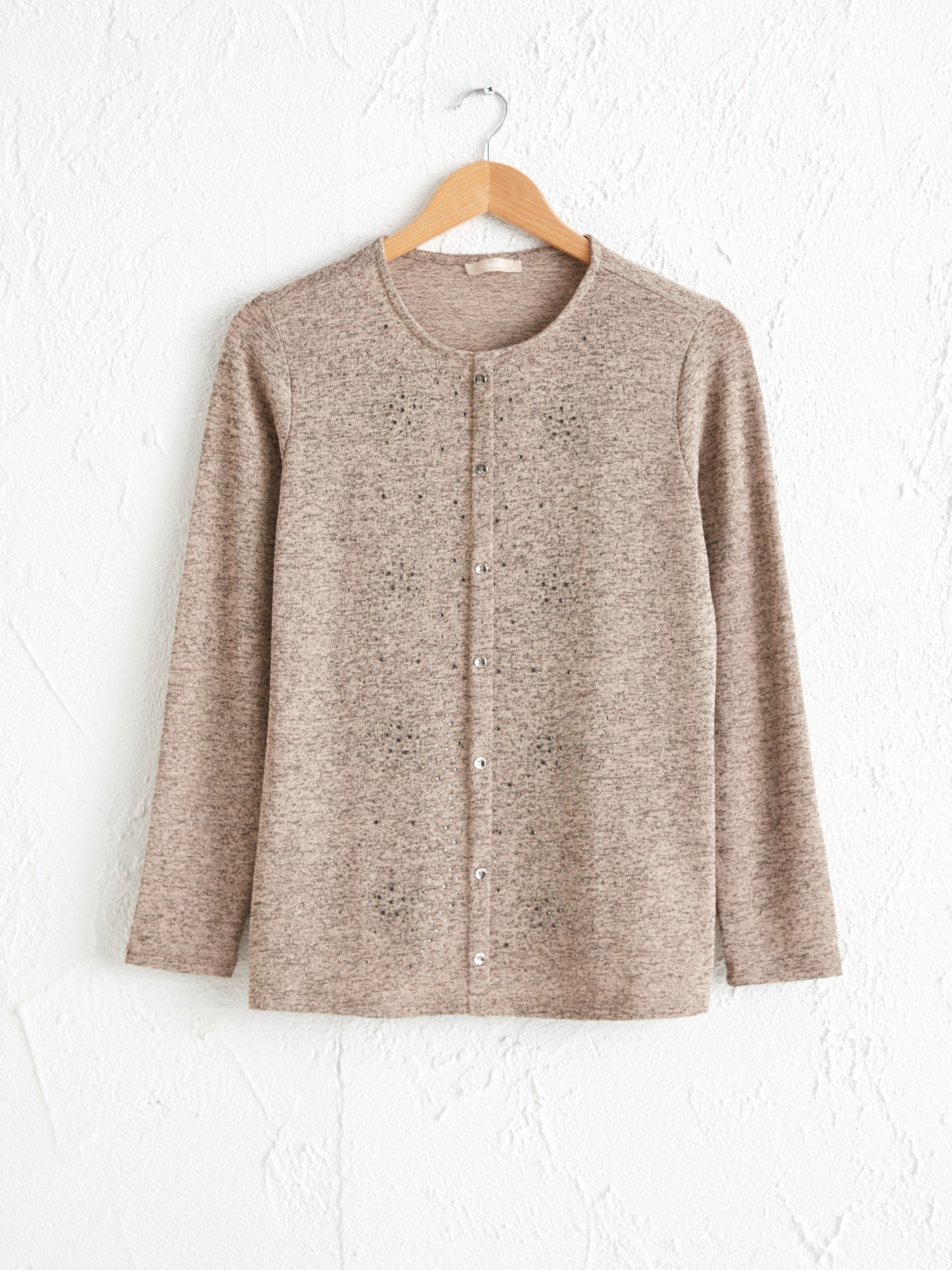BEIGE - Long Sleeve T-Shirt with Button Detail - 0WCN84Z8