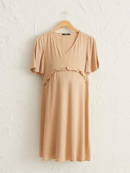BROWN - Ruffle Detailed Viscose Maternity Dress