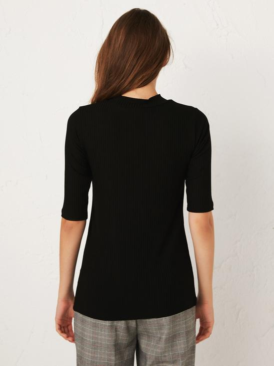 BLACK - Plain Stretch T-Shirt - 0WDU48Z8