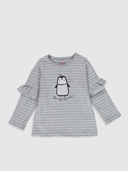 GREY - Girl's Striped T-Shirt