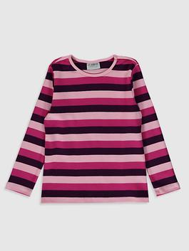PURPLE - Girl's Striped Cotton T-Shirt