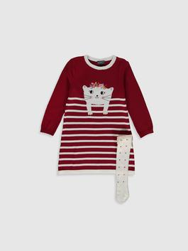 RED - Girl's Tricot Dress and Tights
