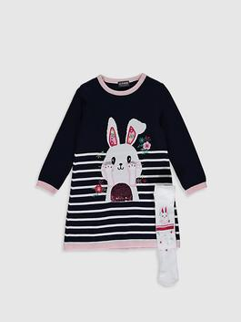 NAVY - Girl's Tricot Dress and Tights