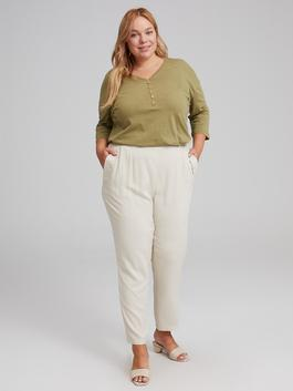 GREY - Elastic Waist Carrot Fit Trousers