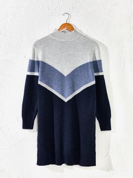 NAVY - Colour-Block Tricot Tunic