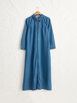 BLUE - Zippered Jean Abaya