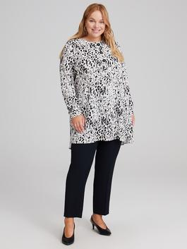 BLACK - Button Detailed Collar Figured Viscose Tunic